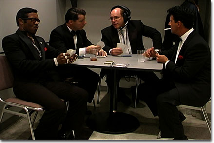 David playing cards with the Rat Pack