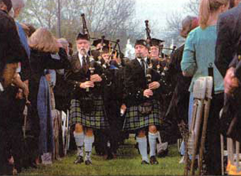 picture of bagpipers performing at Southwestern University inauguration
