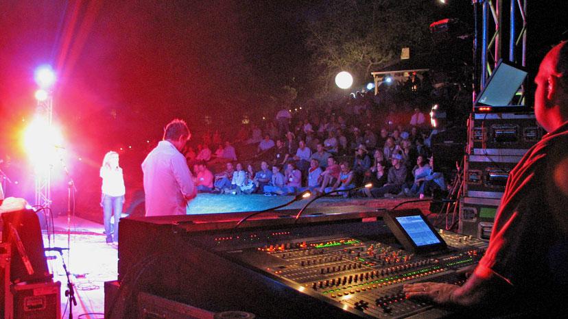 Behind the sound board at Lee Ann Womacks' Hyatt Lost Pines concert