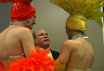 David meeting with Las Vegas show girls to set-up Austin corporate gala entertainment sequence