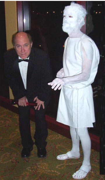 picture of David with Greek Statue Mime (David Yeakle)